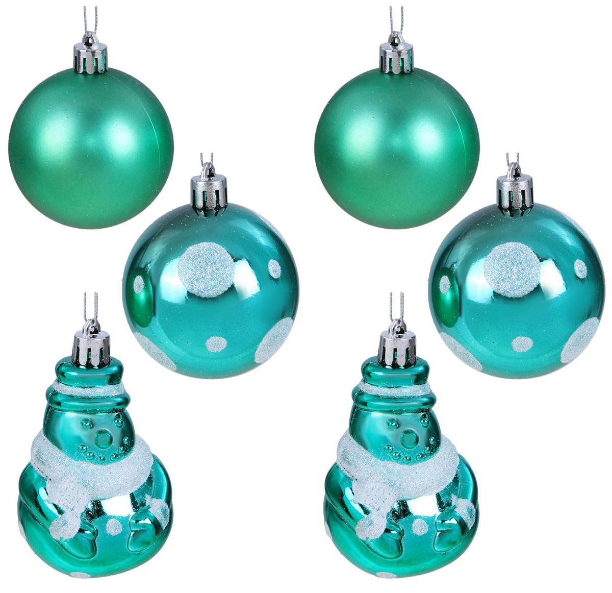 Набор новогодних подвесных украшений Sima-land Изумрудик. Снеговик, диаметр 6 см, 6 шт свеча ароматизированная sima land лимон на подставке высота 6 см