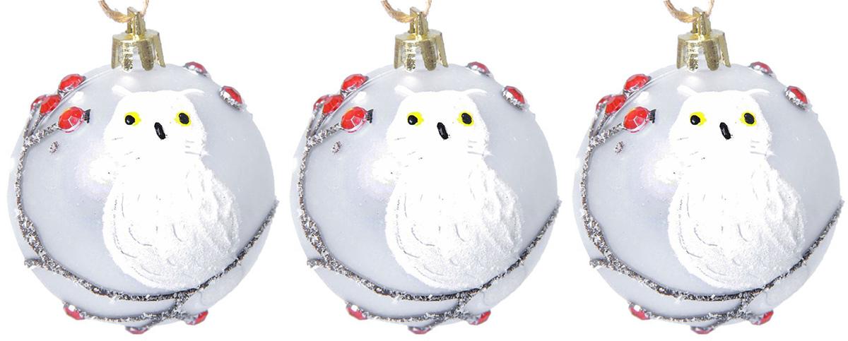 Набор новогодних подвесных украшений Sima-land Зимняя веточка. Сова, диаметр 6 см, 3 шт набор пасхальных подвесок sima land зайчик в скорлупе 6 см 3 шт