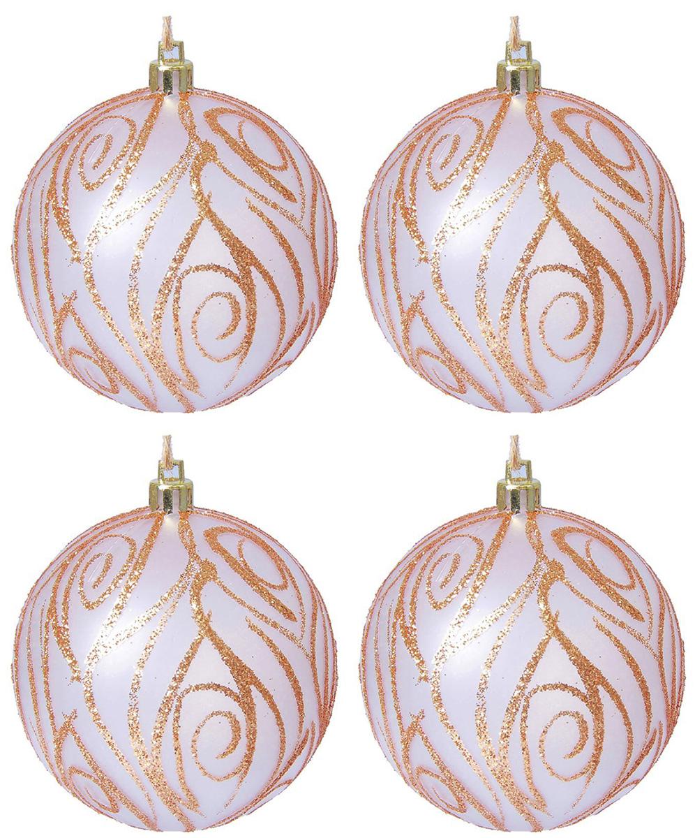 Набор новогодних подвесных украшений Sima-land Тефия, цвет: розовый, бронзовый, диаметр 8 см, 4 шт. 21371612137161Набор новогодних подвесных украшений Sima-land отлично подойдет для декорации вашего дома и новогодней ели. С помощью специальной петельки украшение можно повесить в любом понравившемся вам месте. Но, конечно, удачнее всего оно будет смотреться на праздничной елке. Елочная игрушка - символ Нового года. Она несет в себе волшебство и красоту праздника. Создайте в своем доме атмосферу веселья и радости, украшая новогоднюю елку нарядными игрушками, которые будут из года в год накапливать теплоту воспоминаний.