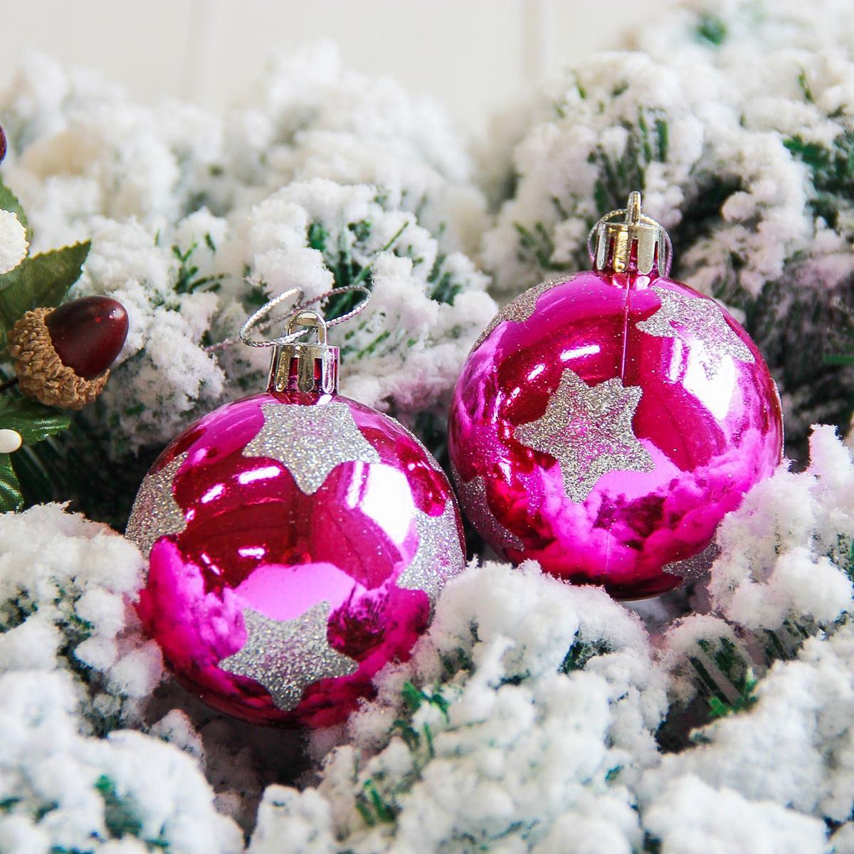 Набор новогодних подвесных украшений Sima-land Яркая звезда, цвет: малиновый, диаметр 6 см, 6 шт свеча ароматизированная sima land лимон на подставке высота 6 см