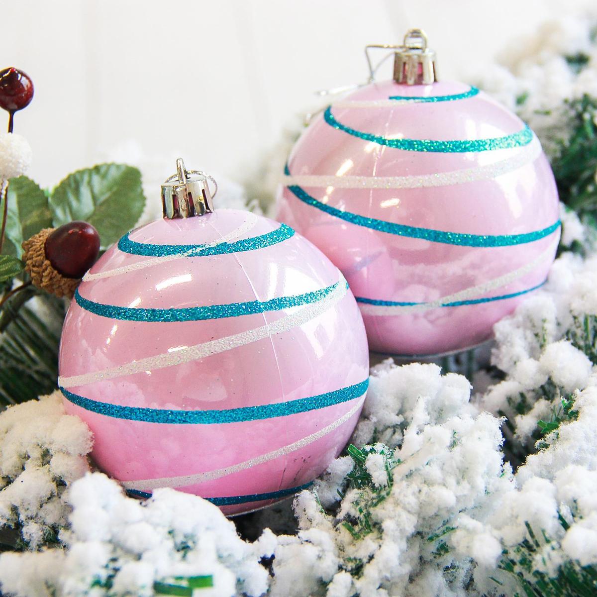 Набор новогодних подвесных украшений Sima-land Орион, цвет: розовый, диаметр 8 см, 6 шт. 2178194 свеча ароматизированная sima land лимон на подставке высота 6 см