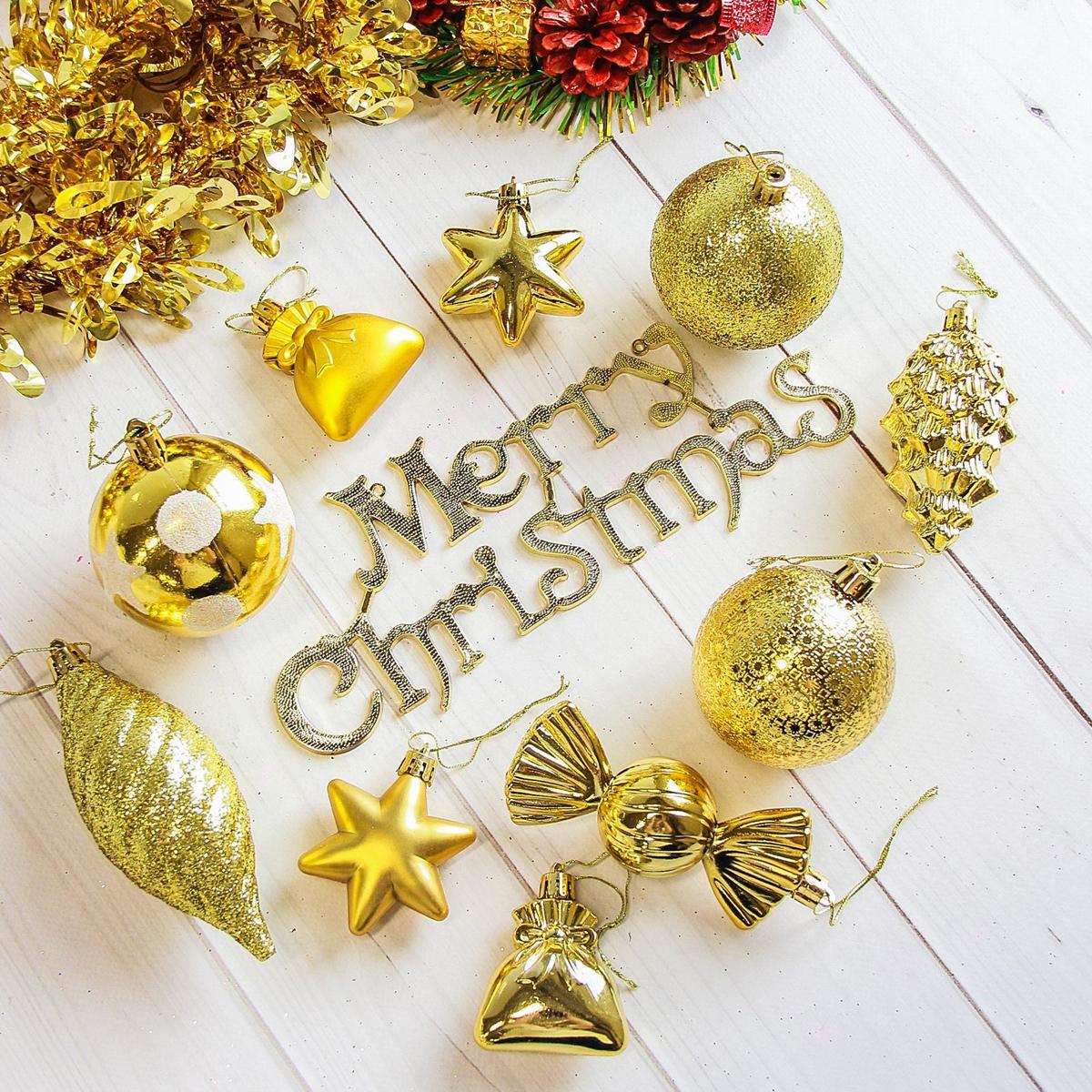 Набор новогодних подвесных украшений Sima-land Виваче, цвет: золотистый, 28 шт2178262Набор новогодних подвесных украшений Sima-land отлично подойдет для декорации вашего дома и новогодней ели. С помощью специальной петельки украшение можно повесить в любом понравившемся вам месте. Но, конечно, удачнее всего оно будет смотреться на праздничной елке. Елочная игрушка - символ Нового года. Она несет в себе волшебство и красоту праздника. Создайте в своем доме атмосферу веселья и радости, украшая новогоднюю елку нарядными игрушками, которые будут из года в год накапливать теплоту воспоминаний.