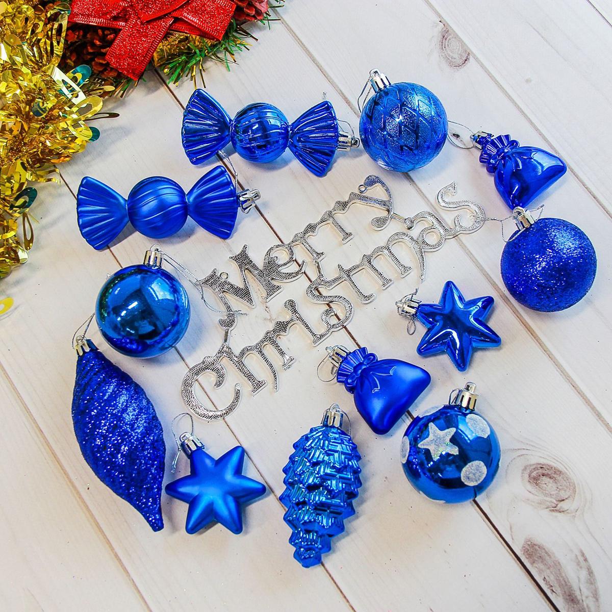 Набор новогодних подвесных украшений Sima-land Модэсто, цвет: синий, 35 шт2178268Набор новогодних подвесных украшений Sima-land отлично подойдет для декорации вашего дома и новогодней ели. С помощью специальной петельки украшение можно повесить в любом понравившемся вам месте. Но, конечно, удачнее всего оно будет смотреться на праздничной елке. Елочная игрушка - символ Нового года. Она несет в себе волшебство и красоту праздника. Создайте в своем доме атмосферу веселья и радости, украшая новогоднюю елку нарядными игрушками, которые будут из года в год накапливать теплоту воспоминаний.