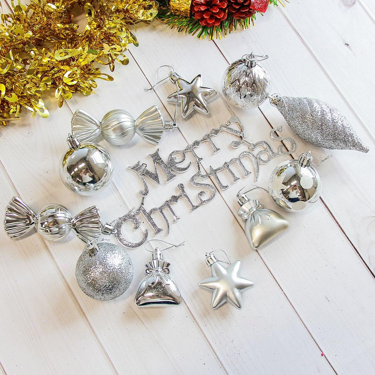 Набор новогодних подвесных украшений Sima-land Модэсто, цвет: серый металлик, 35 шт2178270Набор новогодних подвесных украшений Sima-land отлично подойдет для декорации вашего дома и новогодней ели. С помощью специальной петельки украшение можно повесить в любом понравившемся вам месте. Но, конечно, удачнее всего оно будет смотреться на праздничной елке. Елочная игрушка - символ Нового года. Она несет в себе волшебство и красоту праздника. Создайте в своем доме атмосферу веселья и радости, украшая новогоднюю елку нарядными игрушками, которые будут из года в год накапливать теплоту воспоминаний.