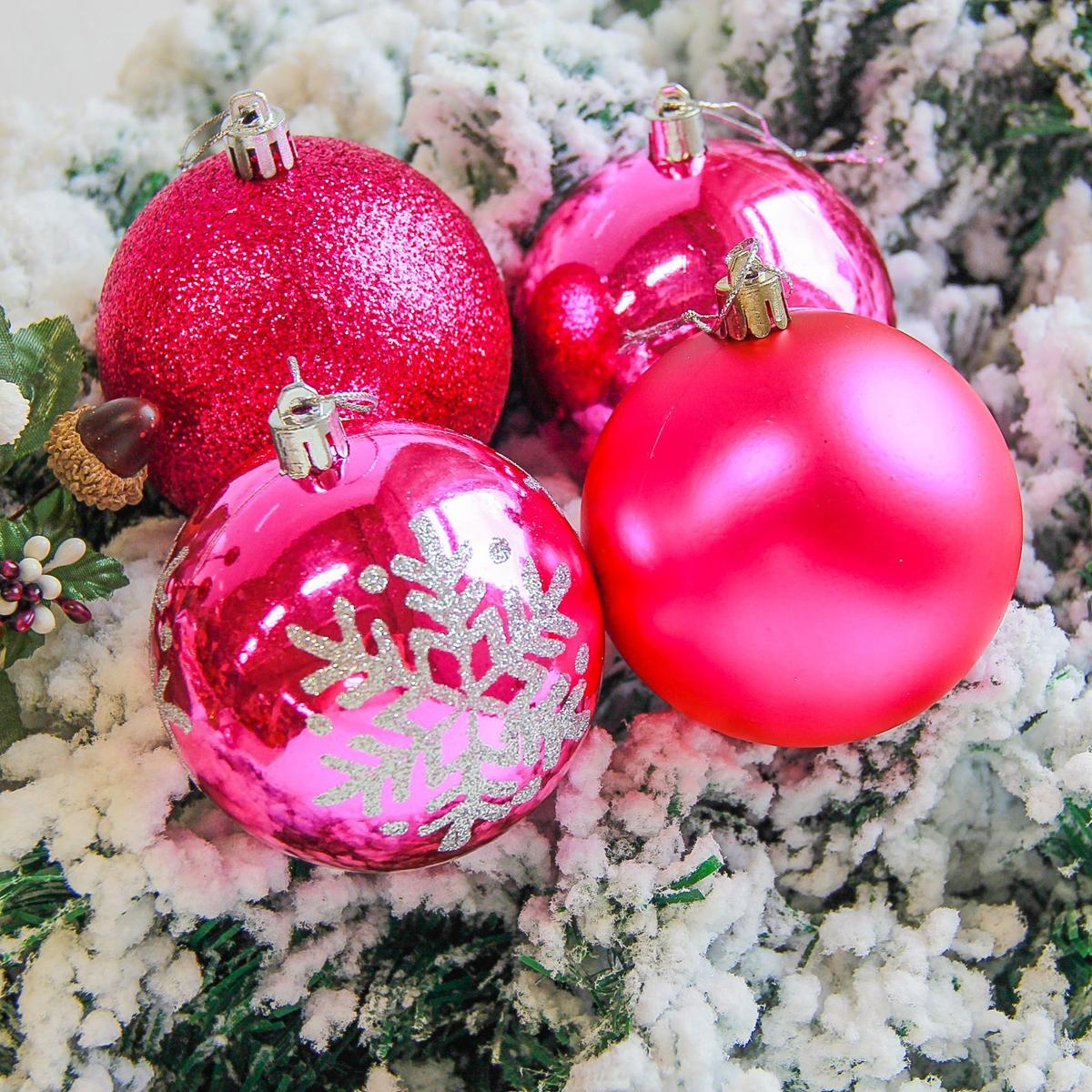 Набор новогодних подвесных украшений Sima-land Снежинка, цвет: розовый, диаметр 8 см, 6 шт. 2178279 свеча ароматизированная sima land лимон на подставке высота 6 см