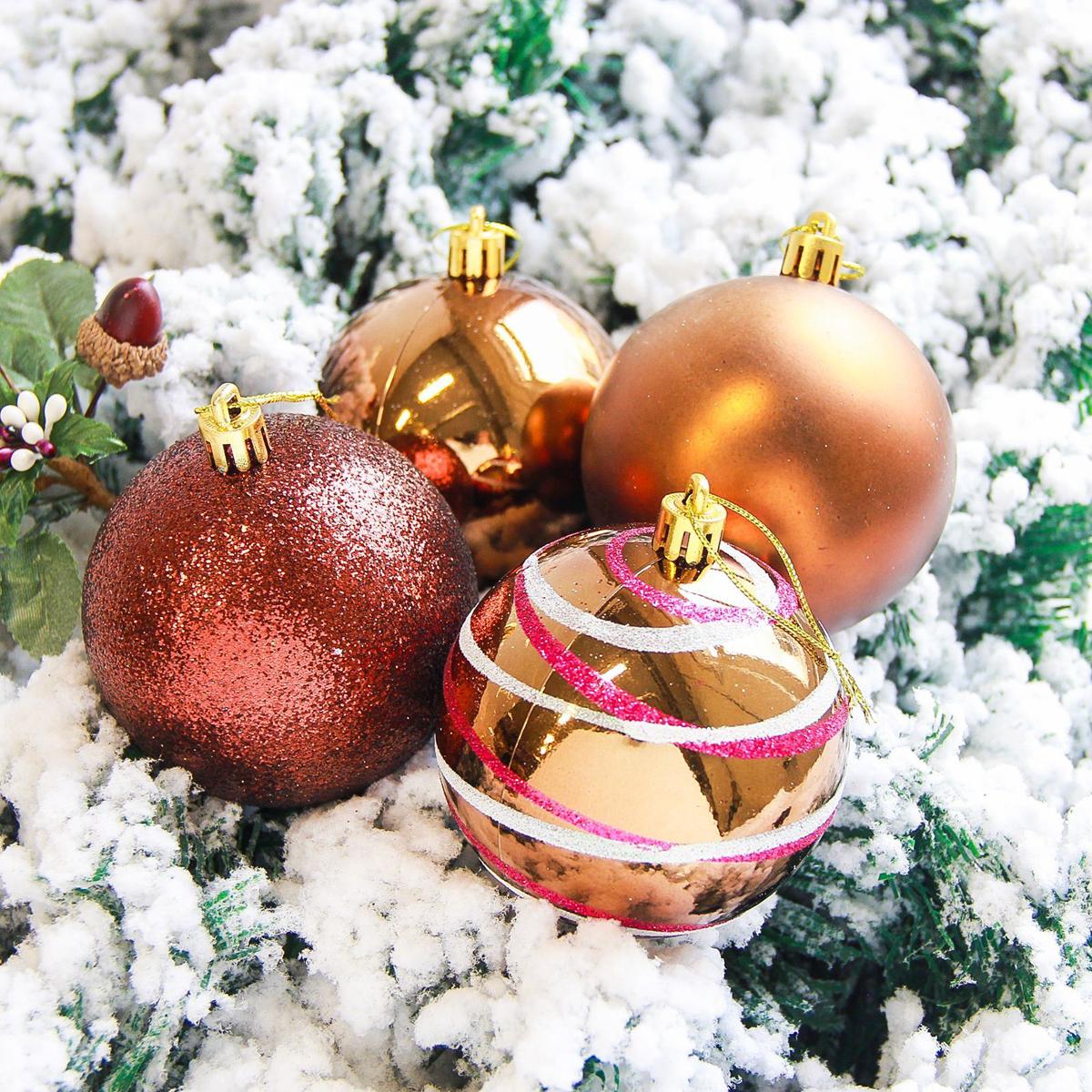 Набор новогодних подвесных украшений Sima-land Орион, цвет: шоколадный, диаметр 8 см, 6 шт свеча ароматизированная sima land лимон на подставке высота 6 см