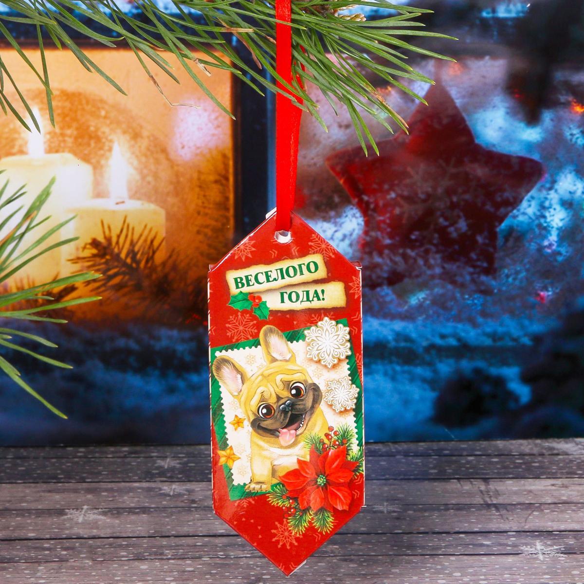 Украшение новогоднее подвесное Sima-land Веселого года, 14 см х 13 см, 6 шт sima land антистрессовая игрушка заяц хрустик 05 цвет красный