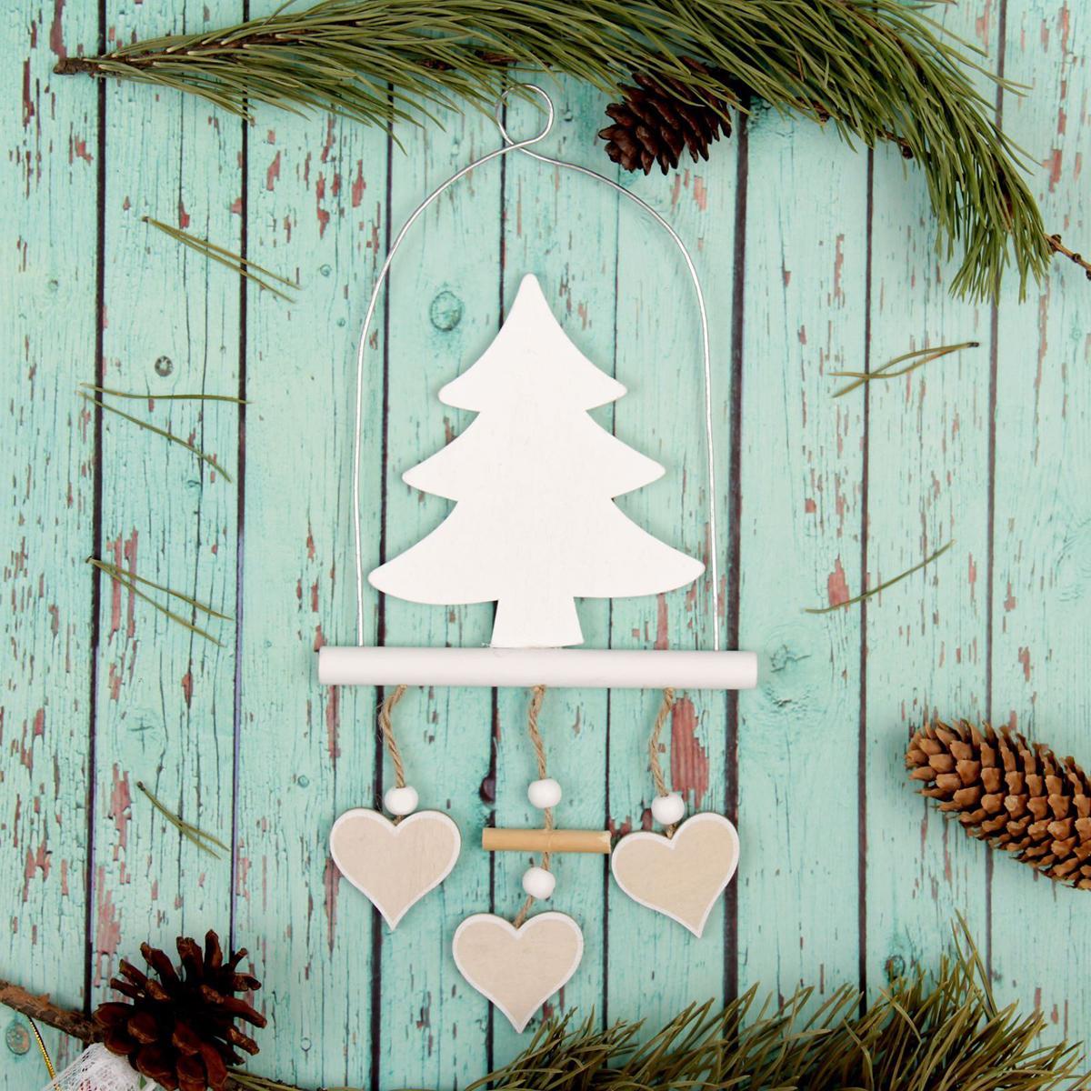 Новогоднее подвесное украшение Sima-land Елка, 17,5 х 13,5 см новогоднее подвесное украшение sima land удачи в новом году светящееся 6 3 см