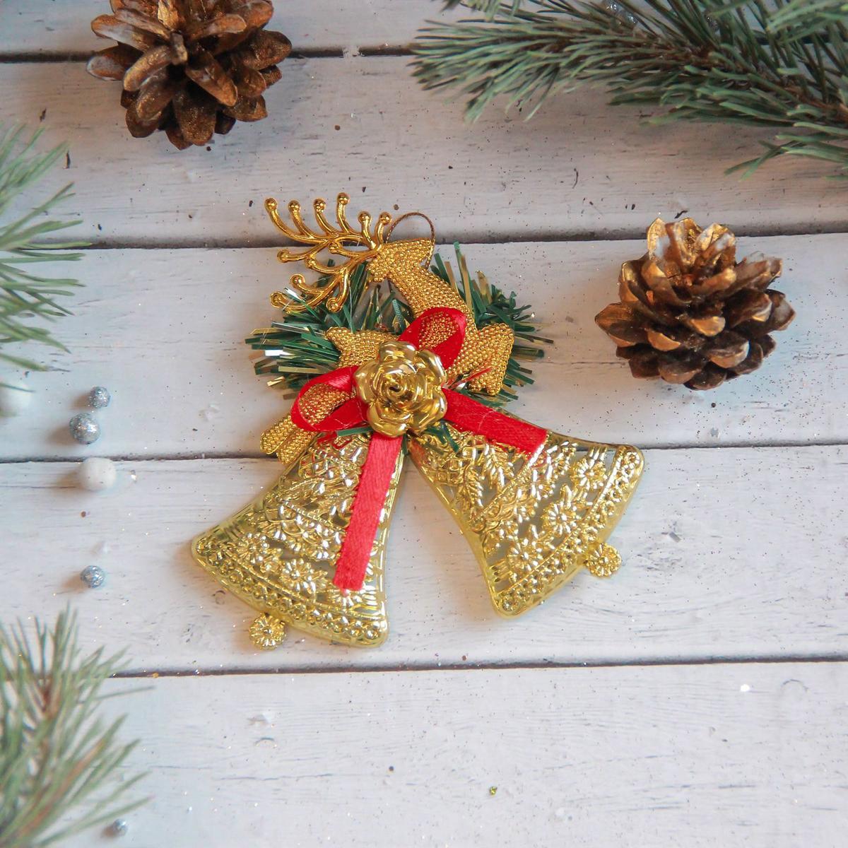 Украшение новогоднее елочное Sima-land Колокольчики резные, с оленем, 10 х 9 см2371283Невозможно представить нашу жизнь без праздников! Мы всегда ждём их и предвкушаем, обдумываем, как проведём памятный день, тщательно выбираем подарки и аксессуары, ведь именно они создают и поддерживают торжественный настрой.