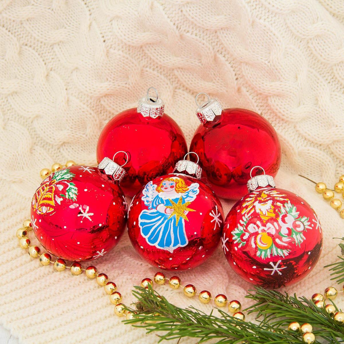 Набор новогодних подвесных украшений Ёлочка Рождественский, диаметр 6 см, 5 шт2564843Невозможно представить нашу жизнь без праздников! Мы всегда ждём их и предвкушаем, обдумываем, как проведём памятный день, тщательно выбираем подарки и аксессуары, ведь именно они создают и поддерживают торжественный настрой.