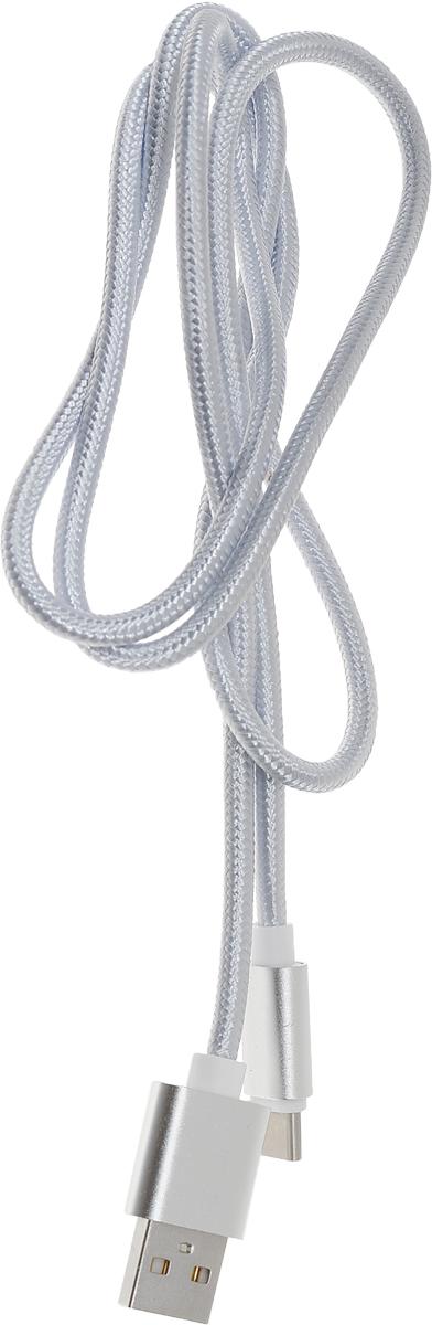 Red Line дата-кабель USB-Type-C 2.0, Silver (нейлоновая оплетка) кабель red line usb – usb type c 1m violet