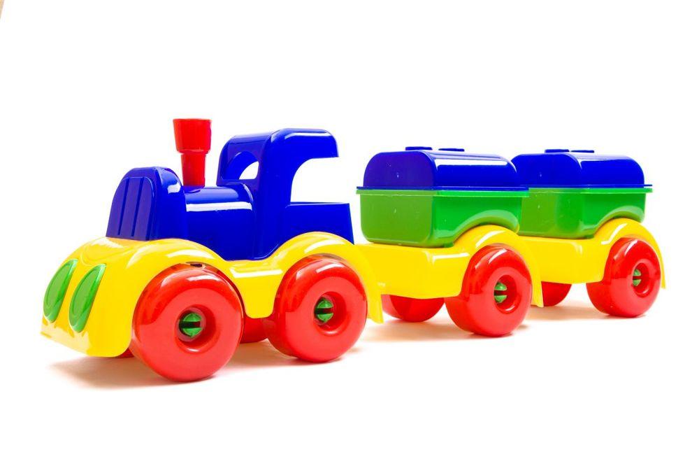 Пластмастер Паровозик МалышОК с двумя цистернами плэйдорадо 12015 каталка паровозик малышок 1 15 р63146
