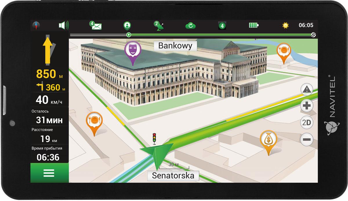 Navitel T700 3G, Black GPS планшетный навигаторT700 3GNavitel T700 3G – современный 4-ядерный планшет с ярким 7-дюймовым IPS экраном на базе ОС Android. Планшет имеет 1 ГБ оперативной памяти, 16 ГБ внутренней памяти и слот для microSD-карт объемом до 32 ГБ. Процессор MediaTek MTK8321 Cortex-A7 делает работу устройства быстрой и снижает энергопотребление. Navitel T700 3G поддерживает интерфейсы USB 2.0, Bluetooth, Wi-Fi, 2G/3G. Пользователь может установить в устройство две SIM карты и совершать звонки при помощи планшета.На Navitel T700 3G предустановлено ПО Навител Навигатор с подробными картами 47 стран мира, что позволяет использовать планшет в качестве надежного устройства для автонавигации. В поездке за границей владелец планшета может отключить Wi-Fi или 3G соединение и использовать офлайн-карты, существенно сокращая расходы на мобильный трафик. Подключение к сети Интернет дает доступ к онлайн-сервисам Navitel, в том числе к сервису Навител.Пробки.Планшет можно легко и быстро закрепить в салоне машины с помощью держателя на лобовое стекло, который входит в основной комплект поставки. Соединение со спутниками GPS устанавливается мгновенно и стабильно поддерживается в течение всего маршрута.Планшет сертифицирован EAC и имеет русифицированный интерфейс, меню и Руководство пользователя.Как выбрать планшет для ребенка. Статья OZON Гид