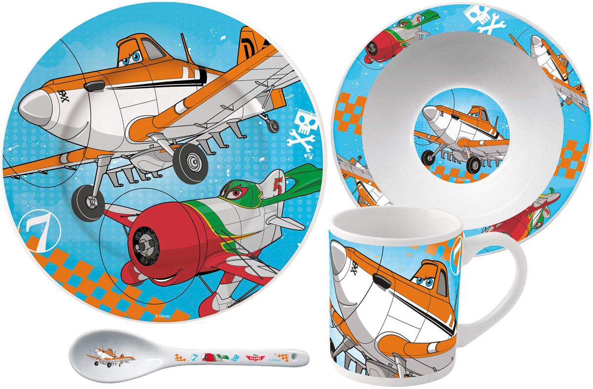 Stor Набор посуды для кормления Самолеты 4 предмета96675Оригинальная керамическая посуда с изображением любимых героев - прекрасный подарок для детей и взрослых. Можно использовать в СВЧ-печи и посудомоечной машине.