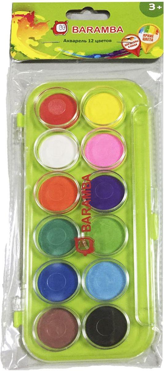 Baramba Акварель сухая 12 цветовB00812Сухие краски в таблетках для разведения водой, с высоким содержанием цветового пигмента. Создают красивые эффекты при работе на влажной бумаге