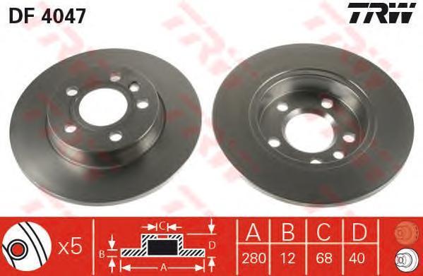 Диск тормозной TRW/Lucas DF4047 комплект 2 штDF4047