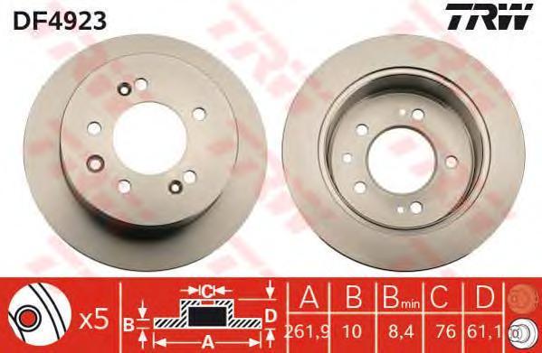 Диск тормозной TRW/Lucas DF4923 комплект 2 штDF4923