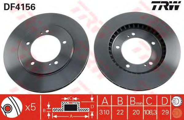 Диск тормозной TRW/Lucas DF4156 комплект 2 штDF4156