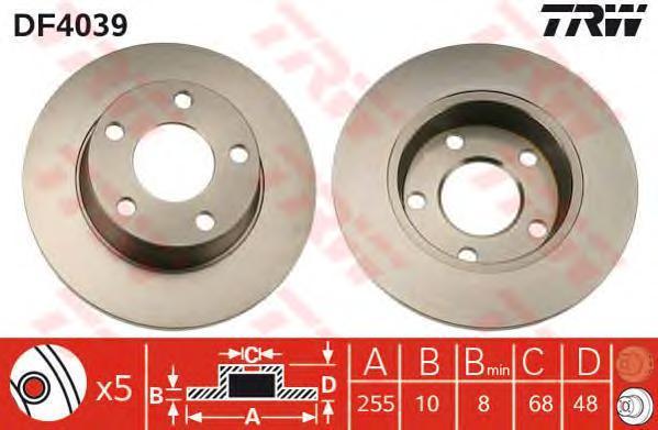 Диск тормозной TRW/Lucas DF4039 комплект 2 штDF4039