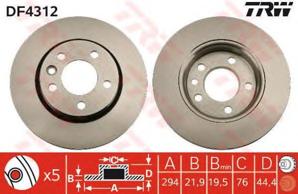 Диск тормозной TRW/Lucas DF4312 комплект 2 штDF4312