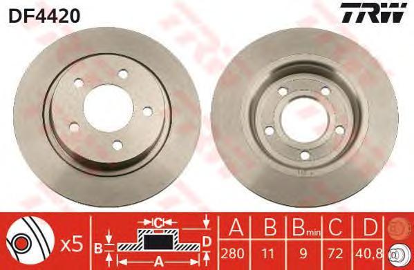 Диск тормозной TRW/Lucas DF4420 комплект 2 штDF4420