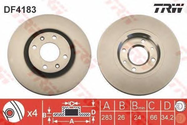 Диск тормозной TRW/Lucas DF4183 комплект 2 штDF4183