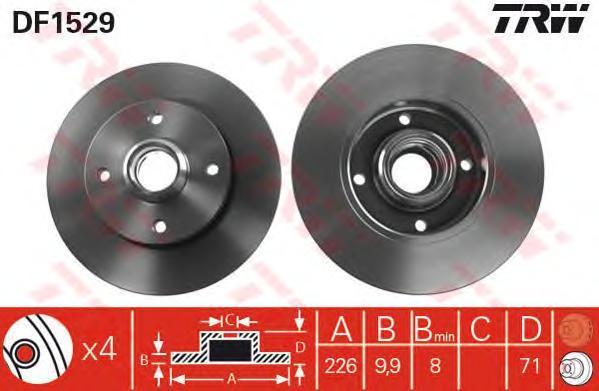 Диск тормозной TRW/Lucas DF1529 комплект 2 штDF1529