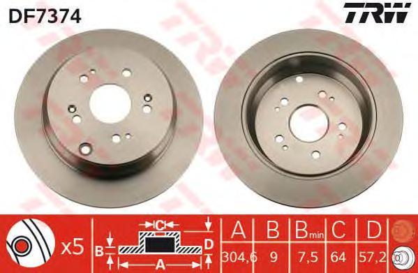 Диск тормозной TRW/Lucas DF7374 комплект 2 штDF7374