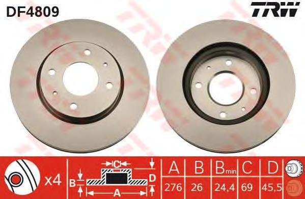 Диск тормозной TRW/Lucas DF4809 комплект 2 штDF4809