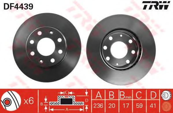 Диск тормозной TRW/Lucas DF4439 комплект 2 штDF4439