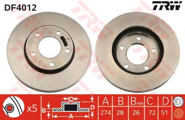 Диск тормозной TRW/Lucas DF4012 комплект 2 штDF4012