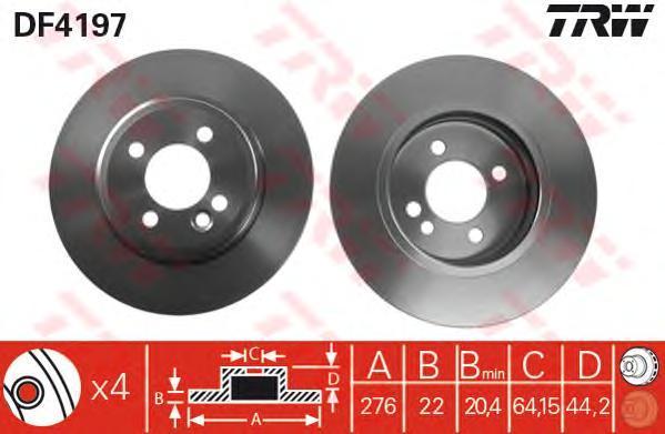 Диск тормозной TRW/Lucas DF4197 комплект 2 штDF4197