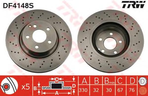 Диск тормозной TRW/Lucas DF4148S комплект 2 штDF4148S