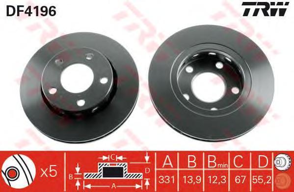 Диск тормозной TRW/Lucas DF4196 комплект 2 штDF4196
