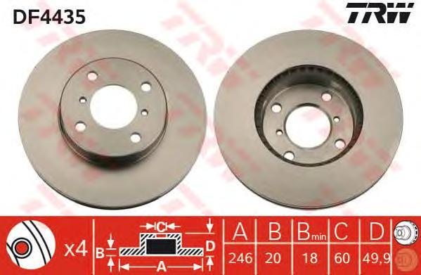 Диск тормозной TRW/Lucas DF4435 комплект 2 шт ao4435 4435 sop8