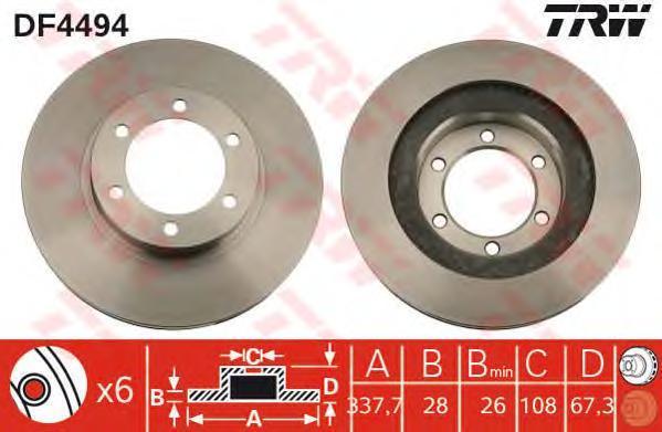 Диск тормозной TRW/Lucas DF4494 комплект 2 штDF4494