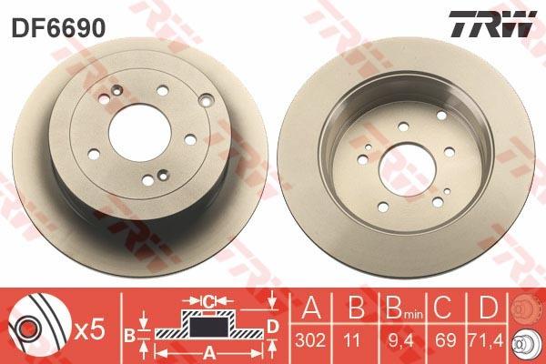 Диск тормозной задний TRW/Lucas DF6690DF6690