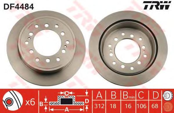 Диск тормозной TRW/Lucas DF4484 комплект 2 штDF4484
