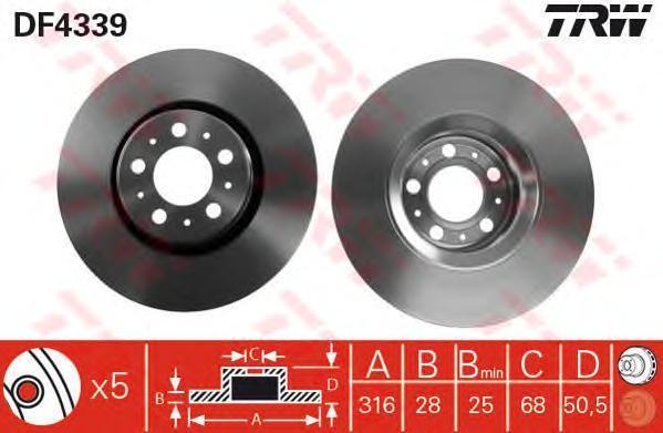 Диск тормозной TRW/Lucas DF4339 комплект 2 штDF4339