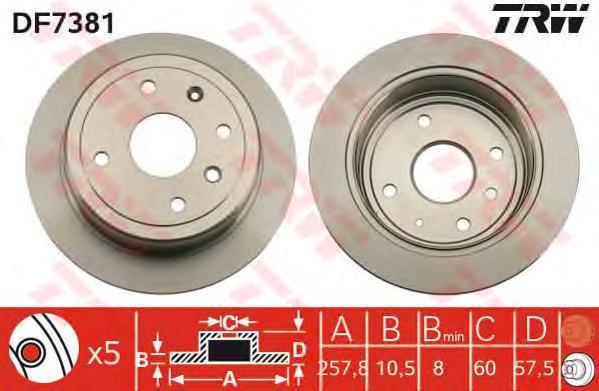 Диск тормозной TRW/Lucas DF7381 комплект 2 шт trw jgm1054t trw амортизатор