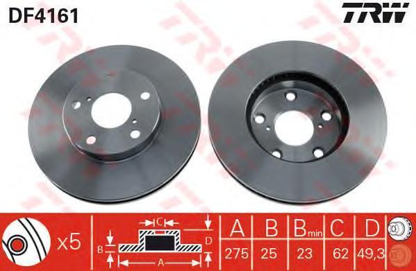 Диск тормозной TRW/Lucas DF4161 комплект 2 штDF4161