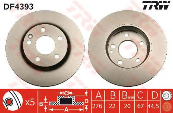 Диск тормозной TRW/Lucas DF4393 комплект 2 штDF4393