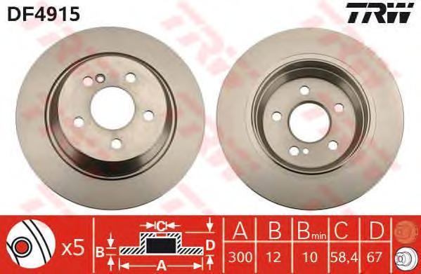 Диск тормозной TRW/Lucas DF4915 комплект 2 штDF4915