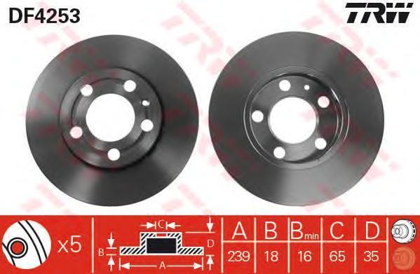 Диск тормозной TRW/Lucas DF4253 комплект 2 штDF4253