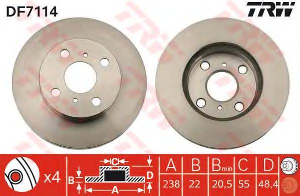 Диск тормозной TRW/Lucas DF7114 комплект 2 штDF7114
