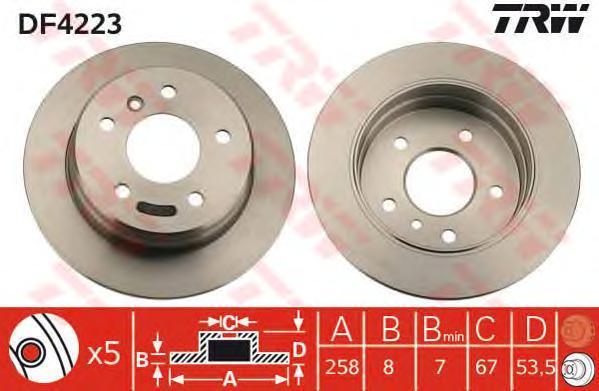 Диск тормозной TRW/Lucas DF4223 комплект 2 штDF4223