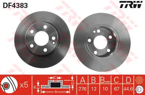 Диск тормозной TRW/Lucas DF4383 комплект 2 штDF4383