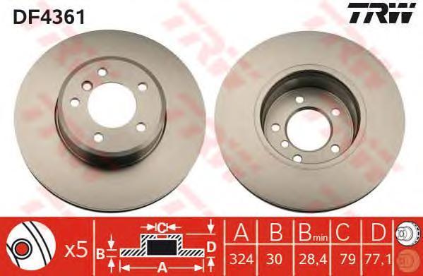 Диск тормозной TRW/Lucas DF4361 комплект 2 штDF4361