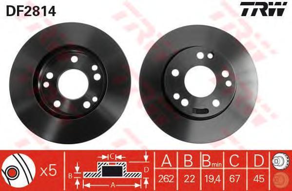 Диск тормозной TRW/Lucas DF2814 комплект 2 штDF2814