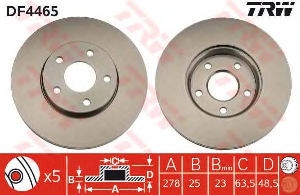 Диск тормозной TRW/Lucas DF4465 комплект 2 штDF4465